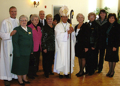 The Durham Serra club with Bishop Nguyen